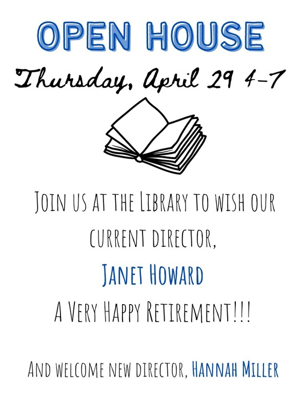 Join us at the Library to wish current director, Janet Howard a very happy retirement!!! And welcome new director, Hannah Miller.jpg